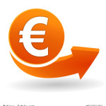 euros sur bouton web orange